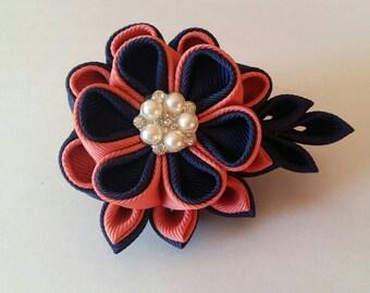 Kanzashi flower fabric hair clip, girls hair clip,  ladies hair clip, peach and blue hair clip