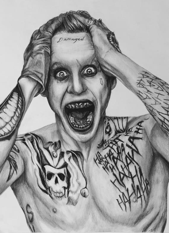 The Joker From Suicide Squad A2 Charcoal Drawing