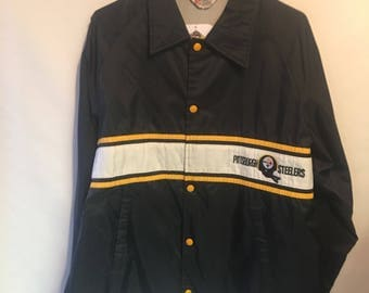 Vintage 80's Back Mens Large Pittsburgh Steelers Coaches Bomber Jacket