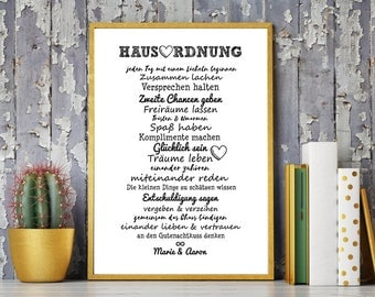 House rules for pairs / couples - art print, mural painting, print, DIN A4 - gift to the collection