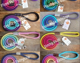 Made to order- Rainbow Rope Leash