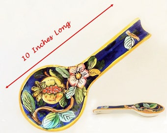 Large Tropical Spoon Rest, Vintage Ceramic