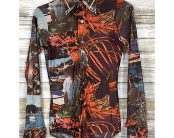 Vintage 70's Strange & Unique Owl Floral Boat Van Heusen Shirt