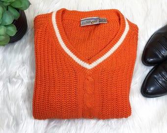 Vintage 80s Sundays Orange V-Neck Cable Knit Sweater Large Free Shipping