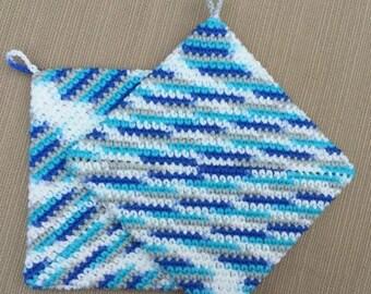 Crochet Pot Holders, Crochet Hot Pads, Thick Pot holders, Handmade,  Housewarming gift, Kitchen Gift, Trivets, Blue, Gray, FREE SHIPPING