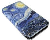 Starry Night Van Gogh Painting Artwork iPhones and Samsung Galaxy Full Wrap Print Leather Cover F024
