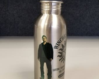 SAMPLE ( 50% OFF! )  Supernatural Inspired 600ml (20oz) Stainless Steel Water Bottle with Straw Flip Top!