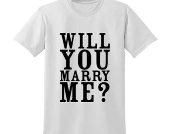Will You Marry Me Slogan Tshirt Reveal Marriage Wedding Proposal Valentines Gift |