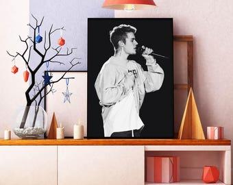 Justin Bieber Poster, Justin Bieber Print, Justin Bieber Moustache , Music  Poster, Music Part 55