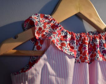 The frill collar liberty Wiltshire pink and white striped cotton dress