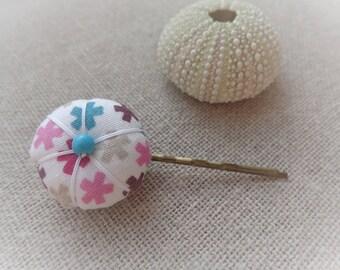Flower Barrette Japanese cross multicolored 2.2 cm