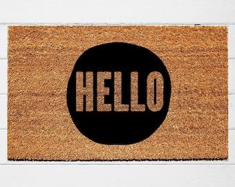 Hello Circle Doormat | Welcome Mat | Door Mat | Outdoor Rug |  Home Decor | Housewarming Gift | Wedding Gift | 18x30
