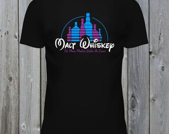 Malt Whiskey T-Shirt Funny Parody Tee. The Most Magical Drink On Earth. Blue and Pink Potions