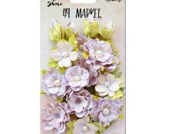 49 & Market Shimmer Shine Lilac Melange - 49 And Market Lilac Melange Flowers - Lilac Scrapbook Flowers - Lilac Embellishments - 1-039