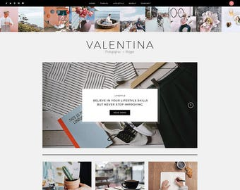Valentina - A WordPress Blog Theme - Responsive WordPress Blog Theme - Feminine Wordpress Theme - Fashion Template - WordPress Blog Theme