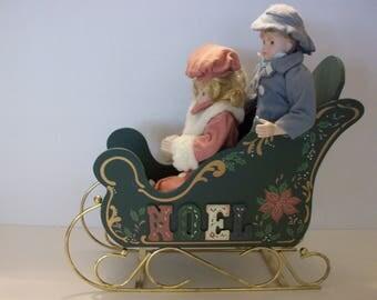 Christmas Around the World Porcelain Kids with Sleigh, House of Lloyd Kids with Sleigh, Christmas Decor, Porcelain Dolls, Sleigh
