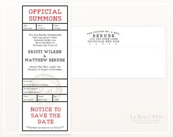 SUBPOENA / OFFICIAL SUMMONS Save The Date Wedding Invitations