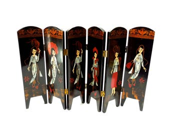 VINTAGE: Tabletop Decorative Screen - Lacquer Wood  Mother of Pearl Inlay - Folding Divider - SKU 28-B-00008945