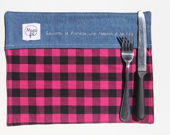 Backpack 3 in 1 checkered pink - napkin, doily lunch carrier utensils, catch all zero waste - zero waste tool