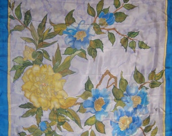 Lapis Lazulis hand painted silk scarf