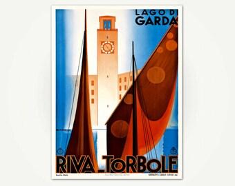Travel Poster Lago di Garda - Riva - Torbole - Vintage Italian Travel Poster Art - Lake Garda Italy Travel Poster Print
