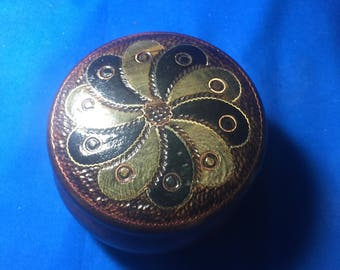 Vintage Hand Carved Polish Made Trinket Box with Brass Inlay - Solid Wood Floral Design