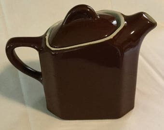 Retro Modern Architectural Chocolate Brown Hall Restaurantware Teapot