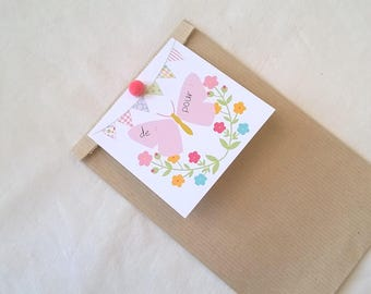 Kraft gift bag and tag Butterfly flowers