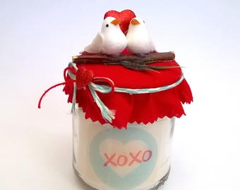 Valentines day candle gift XOXO Valentine's day gift two doves