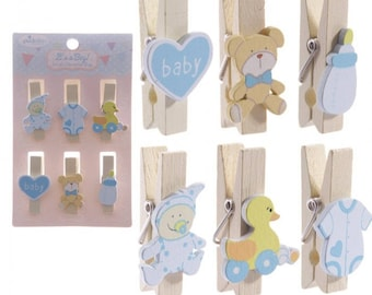 Set of 6 - clothespins theme boy wooden and resin 3.5 cm