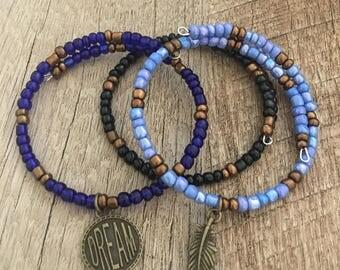 Follow your dreams, set of 3 memory wire bracelets