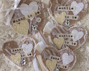 Baby shower rosette and badge favour set  cream and white, personalised, mummy to be, sparkly, shabby chic, vintage