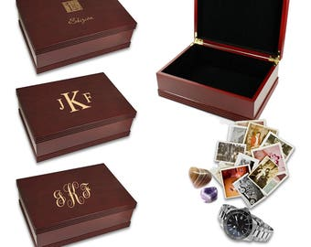 Monogram Rosewood Keepsake Box - Personalized Wooden Memories Box - Laser Engraved Large Wooden Keepsake Case - Wedding Gift Idea