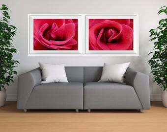 Flower Prints Wall Art Sets, Flowers Printable, Floral Art Canvas Set of 2, Rose Girls Room Decor, Rose Gift Ideas, Nature Photographs