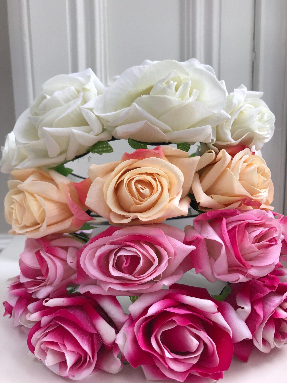 Faux flower crown rose headband flower headband light pink pink faux flower crown rose headband flower headband light pink pink peach izmirmasajfo