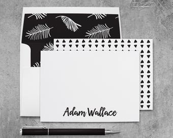 Palm Leaf Stationery Personalized for Men, Tropical Note Cards with Envelopes, Tropical Leaf Notecards for Men, Tropical Stationary Cards