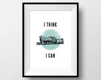 "Vintage Puns, ""I Think I Can"", Funny, Train, Little Engine, Cute, Joke, Home, Motivational, Hipster, Minimal, Blue,"