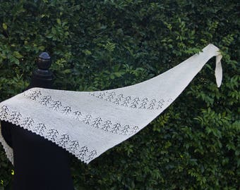 Hand knitted shawl/scarf/wrap, 100% New Zealand wool, white colour, lace pattern
