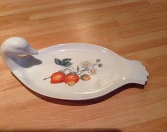 Fruit platter, pate platter, duck serving platter, strawberry transfer, french porcelain,kitchinware,diningware.