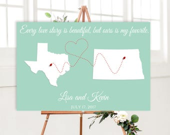 Wedding Guest book Alternative, States Map Wedding Guest Book, POSTER or CANVAS, Long distance relationship, Personalized Map guest book