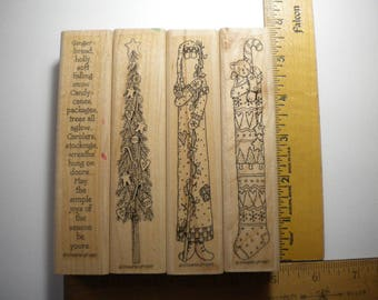 JOYS of the SEASON  Christmas Holiday Stampin' Up Set of 4, 1997,  retired, pay it forward, wood mounted rubber stamp