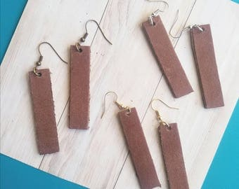 "Brown Leather Earrings / FREE SHIPPING / Joanna Gaines Magnolia Inspired / Bar Shape / Medium/ 2""x.5""/ Silver, Gold or Antique Brass/ Gift"