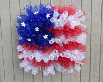 Flag Wreath, Memorial Day Wreath, 4th of July wreath, Spring Wreath, Summer wreath