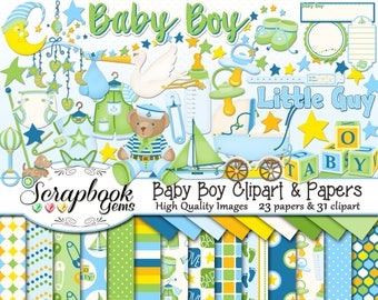 BABY BOY Clipart and Papers Kit, 31 png Clip arts, 23 jpeg Papers Instant Download infant stork toys bottle pacifier binky moon stroller