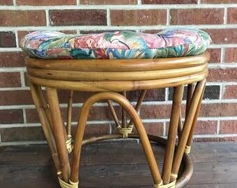 Vintage Bamboo Bentwood Round Ottoman, Rattan Ottoman, Bamboo Foot Stool,  Jungalow Boho Ottoman