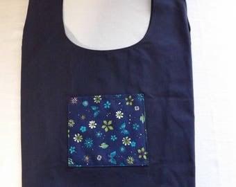 Eco-friendly bag blue flowers with storage Pocket