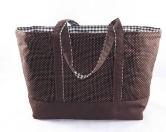 Brown bag with polka dots and gingham