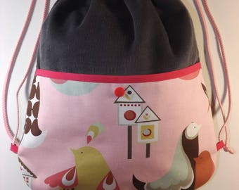 Backpack native customizable for girl with big pocket outside