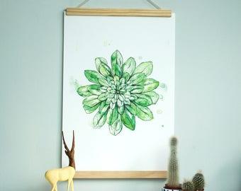 Statement Watercolour Succulent Fine Art Botanical Plant Art Print
