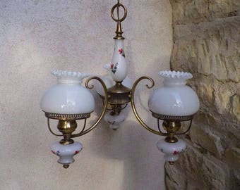 Gold metal and opaline chandelier - chandelier 3 branches - opaline chandelier - chandelier 50 years.